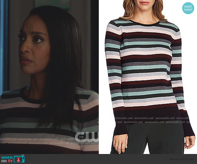Striped Crewneck Sweater by Vince Camuto worn by Kelly Olsen (Azie Tesfai) on Supergirl