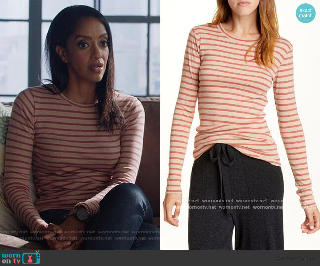Feeder Stripe Long Sleeve Pima Cotton Blend Top by Vince worn by Kelly Olsen (Azie Tesfai) on Supergirl