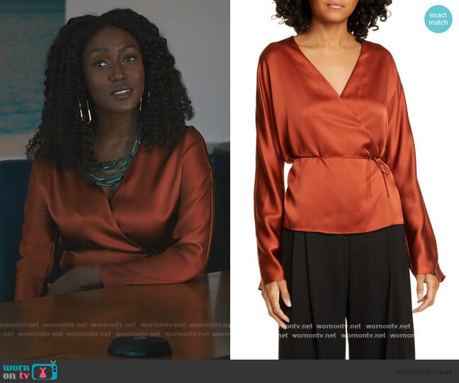 Long Sleeve Silk Wrap Blouse by Vince worn by Lauren Turner (Jade Eshete) on Billions