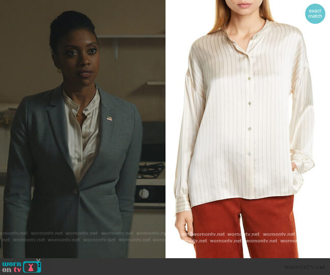 PJ Stripe Silk Blouse by Vince worn by Kate Sacker (Condola Rashad) on Billions