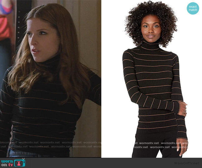 Striped Rib Turtleneck by Vince worn by Darby (Anna Kendrick) on Love Life