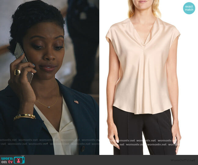 Twist Detail Short Sleeve Silk Blouse by Vince worn by Kate Sacker (Condola Rashad) on Billions