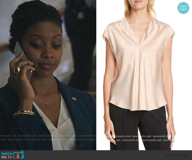 Twist Detail Short Sleeve Silk Blouse by Vince worn by Kate Sacker (Condola Rashad) on Billions