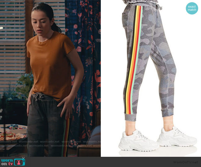 Rainbow-Stripe Camo Jogger Pants by Vintage Havana worn by Annie Sullivan (Anneliese Judge) on Sweet Magnolias
