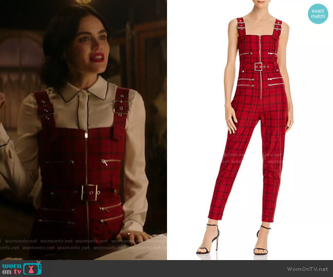 Plaid Moto Jumpsuit by WeWoreWhat worn by Katy Keene (Lucy Hale) on Katy Keene