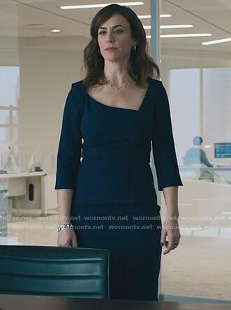 Kate's beige satin v-neck blouse on Billions