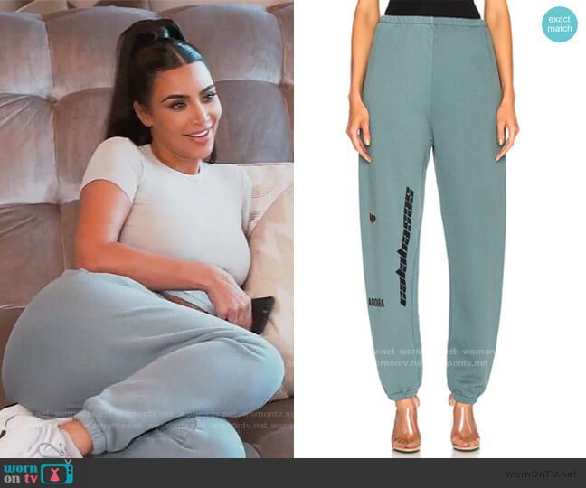 Calabasas French Terry Pants by Yeezy worn by Kim Kardashian  on Keeping Up with the Kardashians