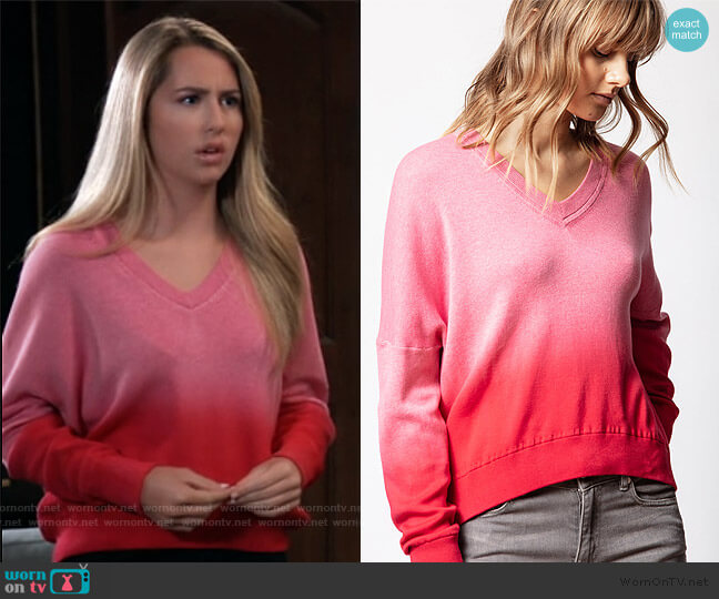 Brumy Dip Dye Sweater by Zadig and Voltaire worn by Josslyn Jacks (Eden McCoy) on General Hospital