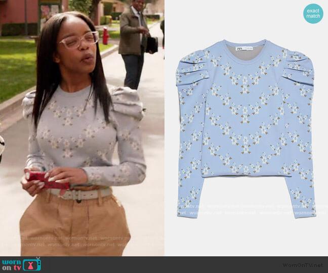 Floral Knit Sweater by Zara worn by Diane Johnson (Marsai Martin) on Blackish