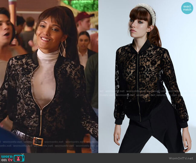 Lace & Velvet Bomber Jacket by Zara worn by Charlie (Maisie Richardson-Sellers) on Legends of Tomorrow
