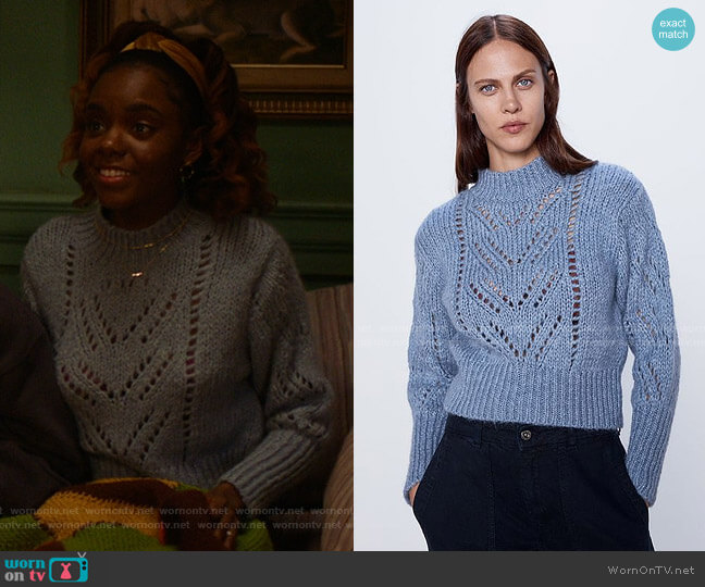 Pointelle Knit Sweater by Zara worn by Josie McCoy (Ashleigh Murray) on Katy Keene