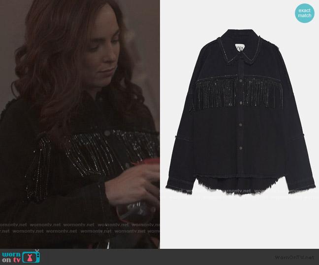 Shiny Fringe Jacket by Zara worn by Villanelle (Jodie Comer) on Killing Eve
