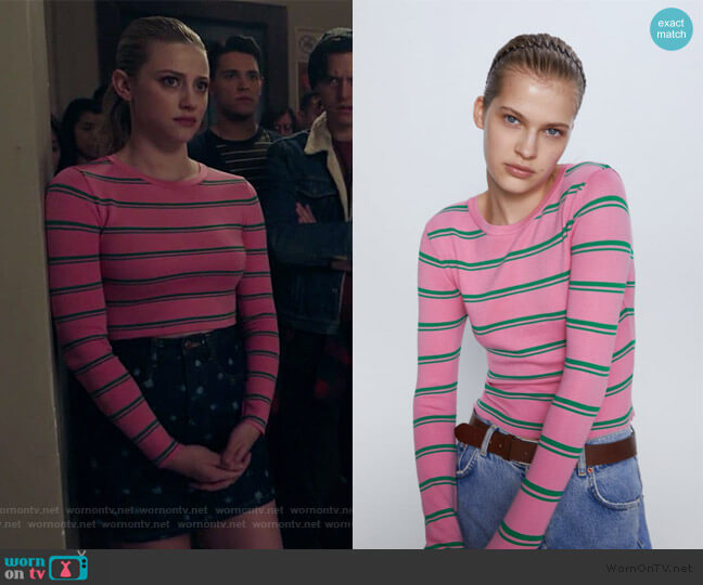 Knit Sweater with Stripes by Zara worn by Betty Cooper (Lili Reinhart) on Riverdale