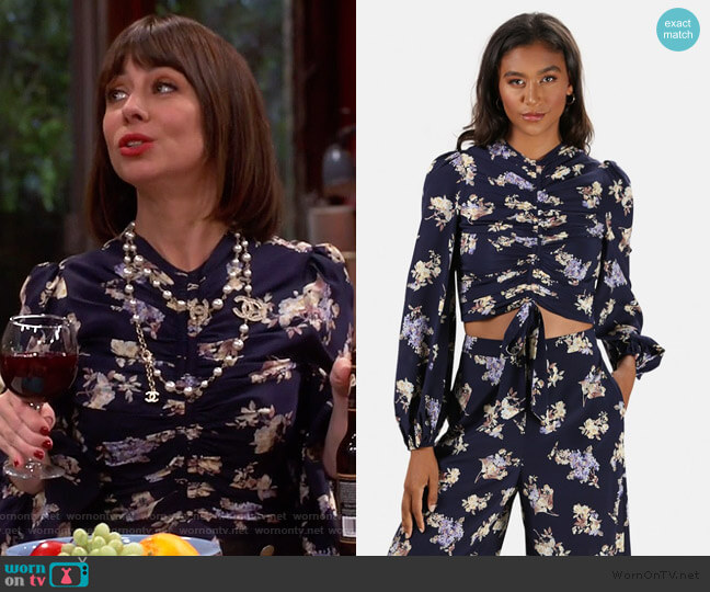 Sabotage Silk Ruched Blouse by Zimmermann worn by Elizabeth (Natasha Leggero) on Broke