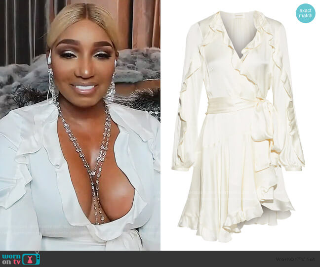 Winsome ruffled washed-silk mini wrap dress by Zimmermann worn by Nene Leakes  on The Real Housewives of Atlanta