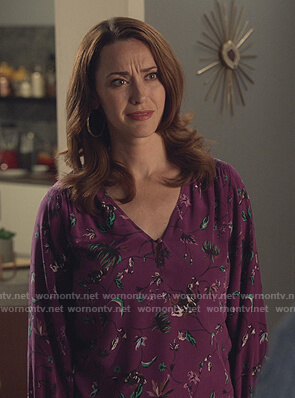 Abigail's purple floral v-neck blouse on Good Witch