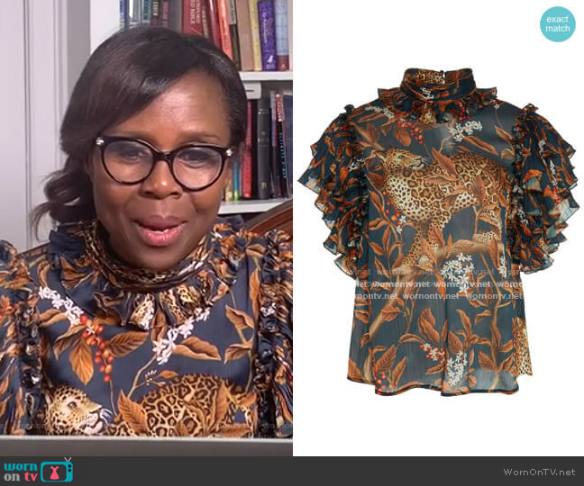 Absurd Beauty Ruffled Printed Chiffon Top by Johanna Ortiz worn by Deborah Roberts  on Good Morning America