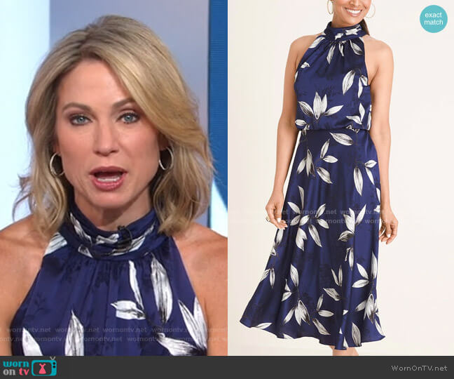 Floral Print Halter Midi Dress by Adrianna Papell worn by Amy Robach  on Good Morning America