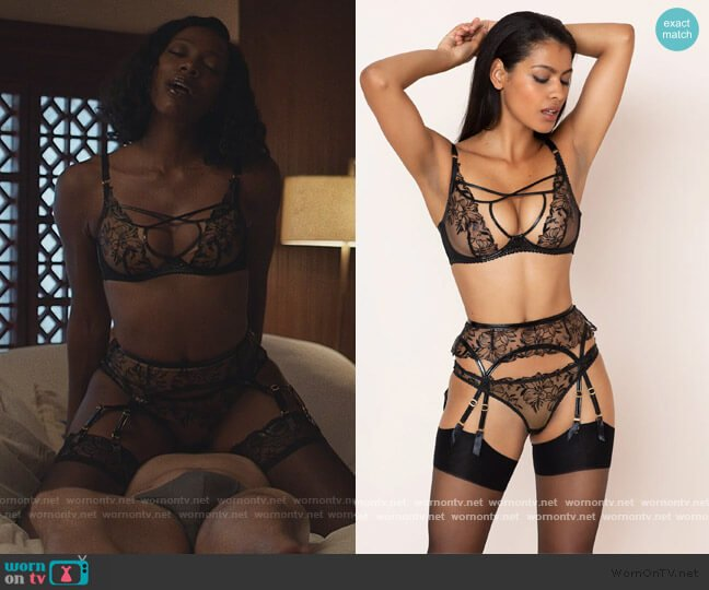 Underwired Bra, Suspenders and Briefs by Agent Provocateur worn by Molly Carter (Yvonne Orji) on Insecure