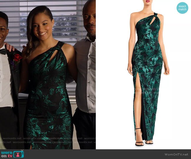 Metallic Jacquard One-Shoulder Gown by Aidan Mattox worn by May Grant (Corinne Massiah) on 9-1-1