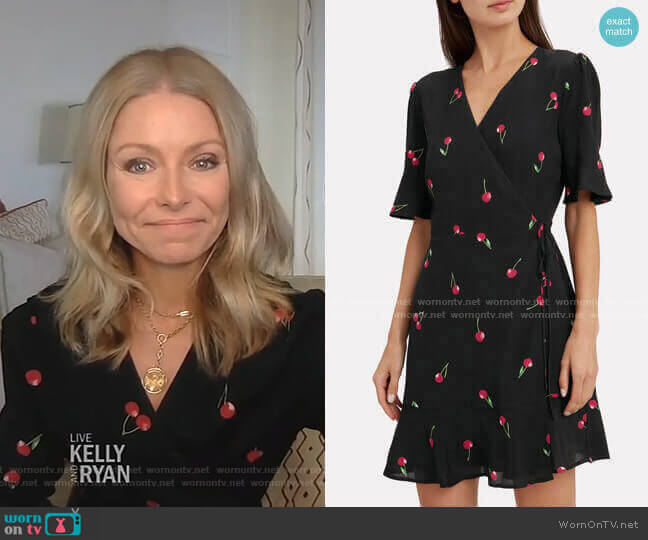Aimee Cherry Print Dress by Rails worn by Kelly Ripa  on Live with Kelly & Ryan