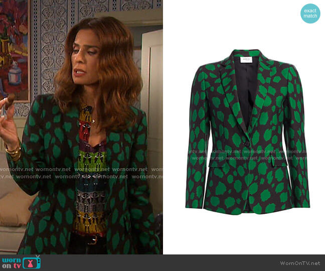 Leo-Print Wool Jersey Blazer by Akris punto worn by Hope Williams (Kristian Alfonso) on Days of our Lives
