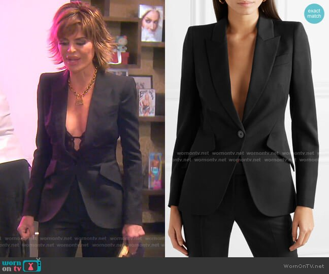 Grain de Poudre Blazer by Alexander Mcqueen worn by Lisa Rinna  on The Real Housewives of Beverly Hills
