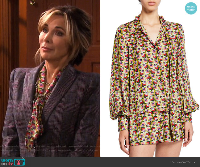 Londyn Tie-Neck Geo-Print Top by Alexis worn by Kate Roberts (Lauren Koslow) on Days of our Lives
