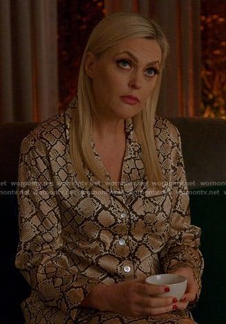 Allison's black plaid tweed blazer and skirt on Dynasty