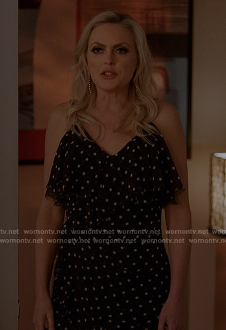 Alexis's black ruffled polka dot dress on Dynasty