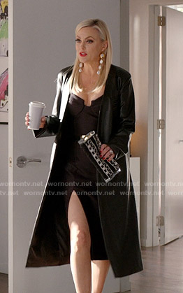 Alexis's black slit midi dress on Dynasty