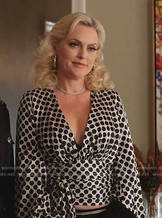 Alexis's white polka dot tie waist top on Dynasty