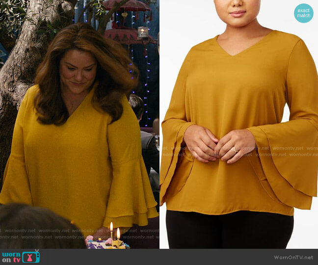 Plus Bell-Sleeve Blouse by Alfani worn by Katie Otto (Katy Mixon) on American Housewife