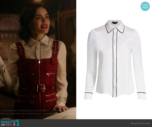 Willa Piped Placket Top by Alice + Olivia worn by Katy Keene (Lucy Hale) on Katy Keene