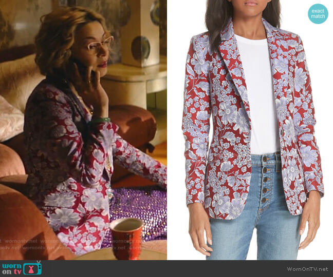 Macey Notch Collar Fitted Blazer by Alice + Olivia worn by Pepper Smith (Julia Chan) on Katy Keene
