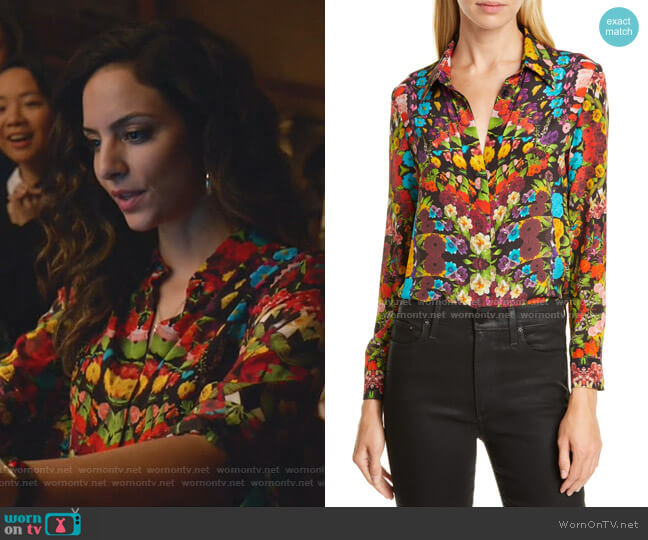 Willa Floral Pleated Placket Silk Blouse by Alice + Olivia worn by Zari Tomaz (Tala Ashe) on Legends of Tomorrow