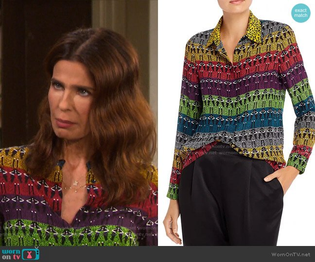 Willow Blouse by Alice + Olivia worn by Hope Williams (Kristian Alfonso) on Days of our Lives