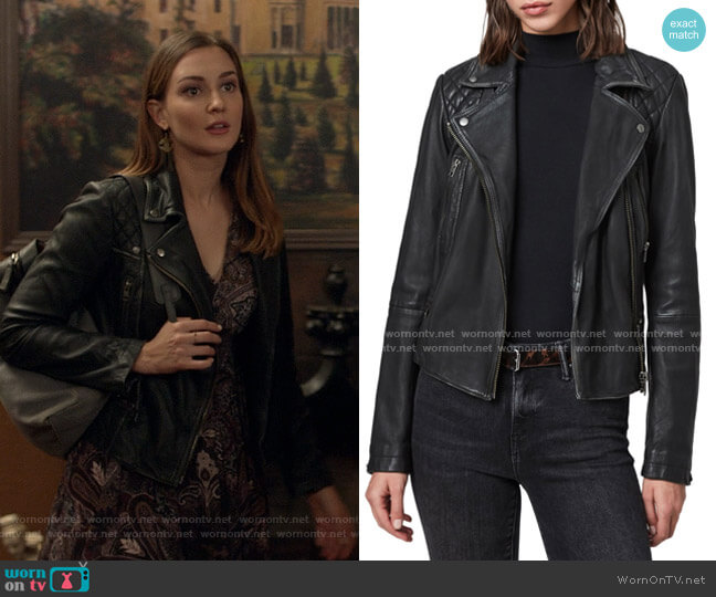 Leila Scarf Dress by All Saints worn by Kat Barrell on Good Witch
