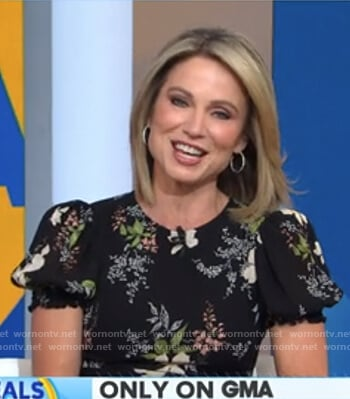 Amy's black floral dress on Good Morning America