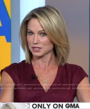 Amy's burgundy v-neck dress on Good Morning America