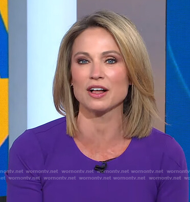 Amy's purple crew neck sheath dress on Good Morning America
