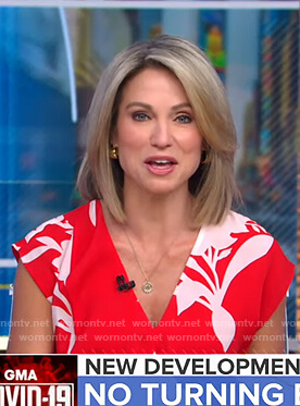 Amy's red floral v-neck top on Good Morning America