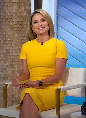 Amy's yellow short sleeve sheath dress on Good Morning America