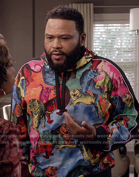 Andre's multicolored tiger print hoodie on Black-ish