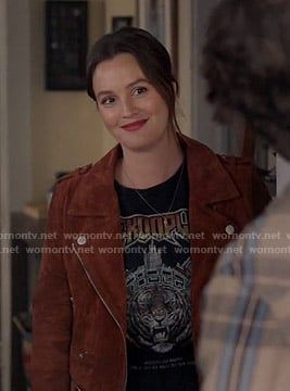 Angie's tiger print tee and suede moto jacket on Single Parents