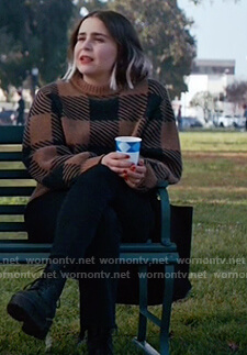 Annie's brown check sweater on Good Girls