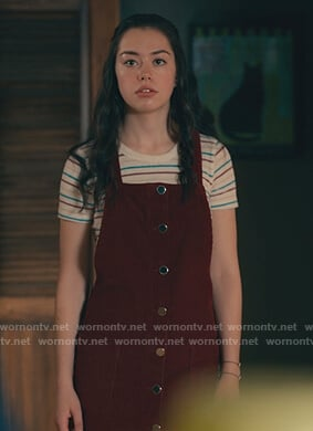 Annie's striped tee and burgundy corduroy pinafore dress on Sweet Magnolias