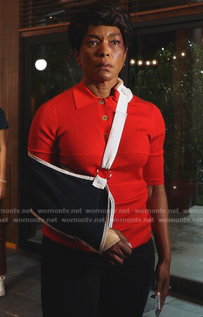 Athena's red ribbed polo shirt on 9-1-1