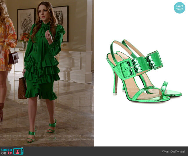 Embossed Metallic Leather Sandals by The Attico worn by Fallon Carrington (Elizabeth Gillies) on Dynasty