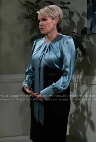 Ava's blue satin tie neck blouse on General Hospital